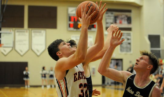 The Eastern Eagles' boys basketball team defeated Portsmouth Notre Dame 52-18 Tuesday night at Eastern High School in Beaver, Ohio.