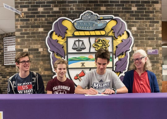 Joined by his brothers Turner and Cater Markko and his mother Jamie Fry Markko, Unioto's Tucker Markko commits to Malone University in Canton, Ohio.