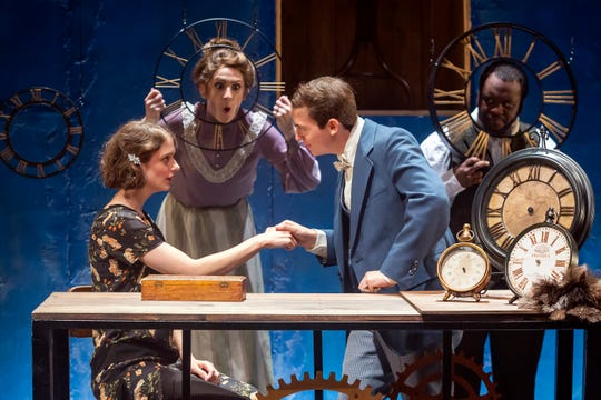 """Members of Ensemble Theatre Cincinnati's 2017-2018 Professional Acting Apprentice Company in their July production of """"Failure: A Love Story."""" Seen here, from L, are Dorothy Jolly, Katie Mitchell, Aaron Krick and Reginald Hemphill."""