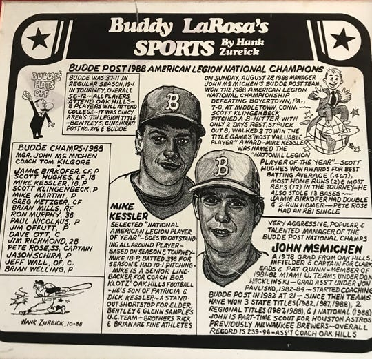 This is the Buddy LaRosa?s Sports poster on the Budde Post 1988 American Legion National Champions team. Hank Zureick drew similar cartoons that appeared in The Enquirer and in LaRosa's restaurants.