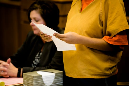 Chynna Brandon, 17, reads a statement during her sentencing for vehicular homicide at the Butler County Juvenile Court on Wednesday, Dec. 19, 2018. Chynna was driving during a fatal car accident while heading to her prom dinner with three fellow students.