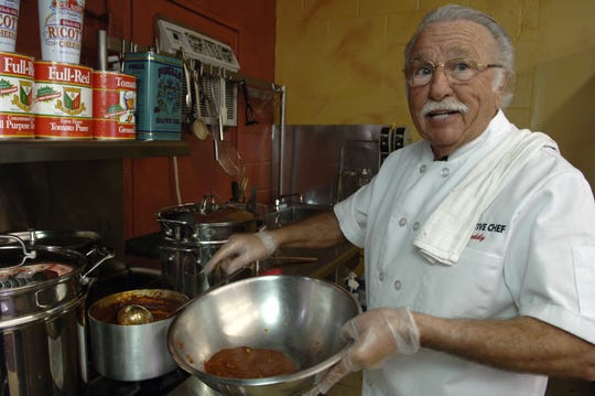 LAROSA. BUSINESS. NOVEMBER 7, 2005. Buddy LaRosa, founder of LaRosa's, a chain of Italian family restaurants, prepares spaghetti in the firm's test kitchen in Westwood Monday November 7, 2005.