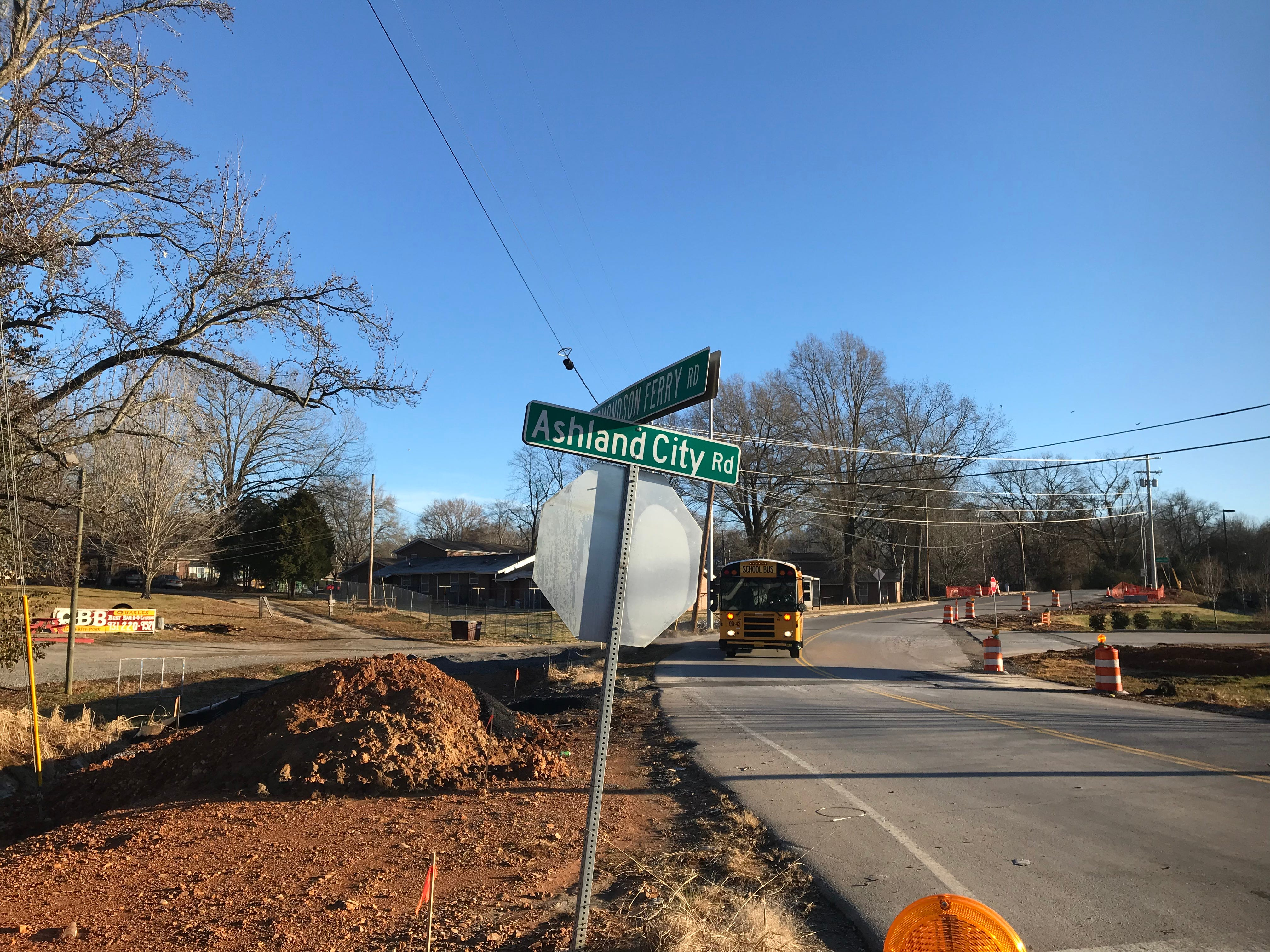 Construction at Edmondson Ferry Road and US 41A Bypass in Clarksville is behind schedule, but work continues to level out the grade, install a traffic light and make other safety improvements.