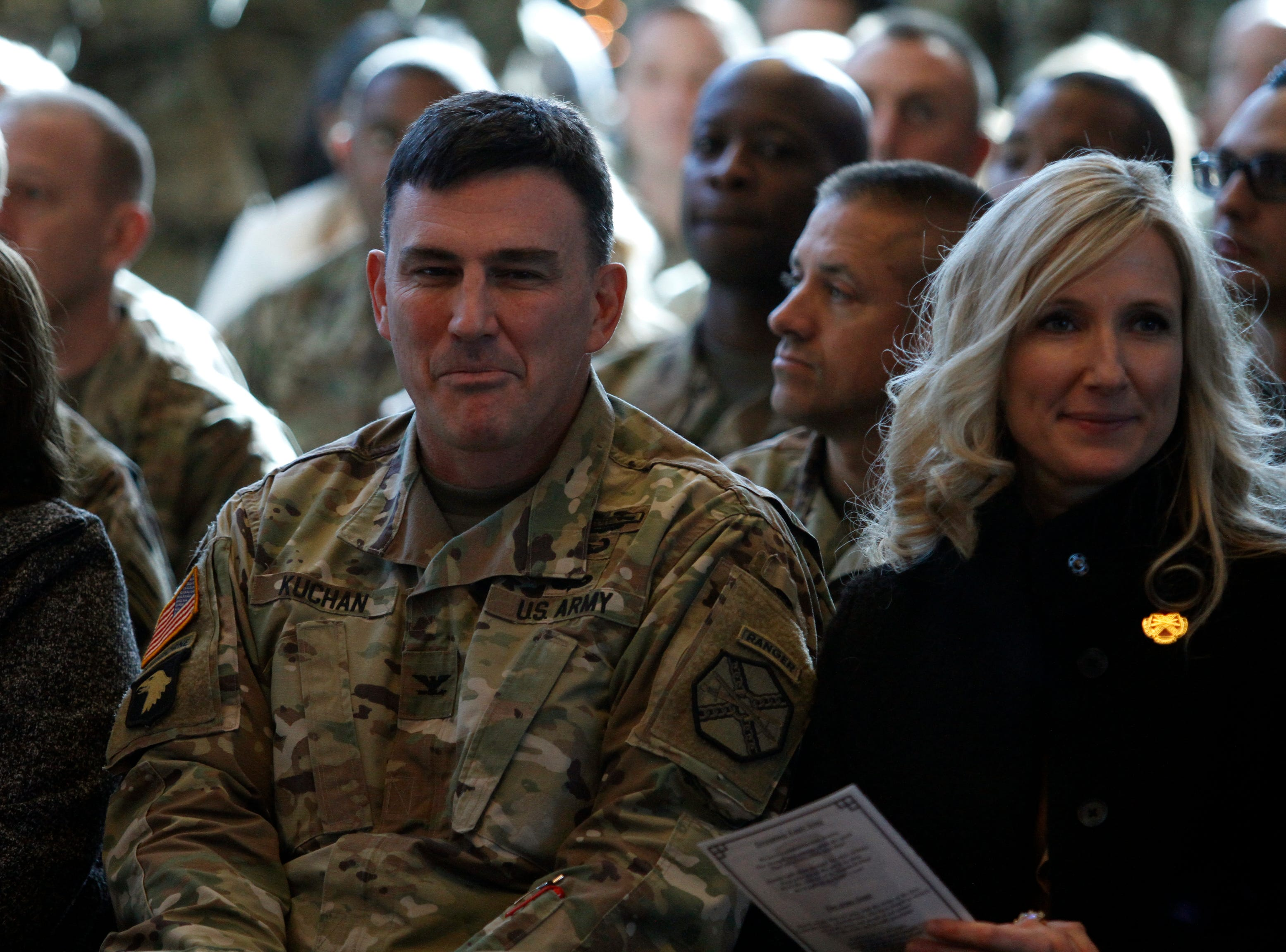 Col. Joe Kuchan and Sarah Kuchan at the uncasing of the 101st Airborne Division colors following its Afghanistan deployment, on Wednesday, Dec. 19, 2018.