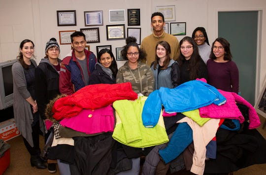 (Left to right) Arianna Illa, Career Services coordinator who oversees Democracy House; Zaineb Haider, South Brunswick; Asad Faruqi, North Brunswick; Natalie Perera, Edison; Eileen Araujo, North Brunswick; Abel Samson, Edison; Dana Lauria, Piscataway; Diana Medina, Perth Amboy; Ariana Simon, Democracy House coordinator, and Leslie Del Salto, South Plainfield.