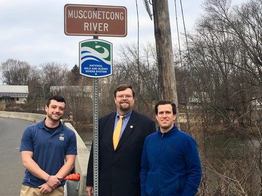 (Left to right) Cole Baldino, New Jersey Delaware River coordinator, Trout Unlimited; Paul Muir, mayor, Bethlehem Township; and Alan Hunt, executive director, Musconetcong Watershed Association.