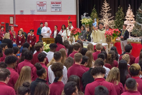 """The theme of this Advent season at Bishop George Ahr was """"God's word comes down – and He friended me!"""""""