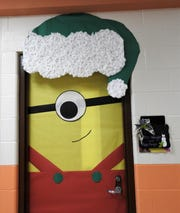 Coshocton Elementary School had a door decorating contest for Christmas. Speech and language teacher Jacie Wright's door had a Minion wearing a hat.