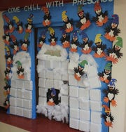 The preschool class at Coshocton Elementary School won best winter theme during a door decoration contest.