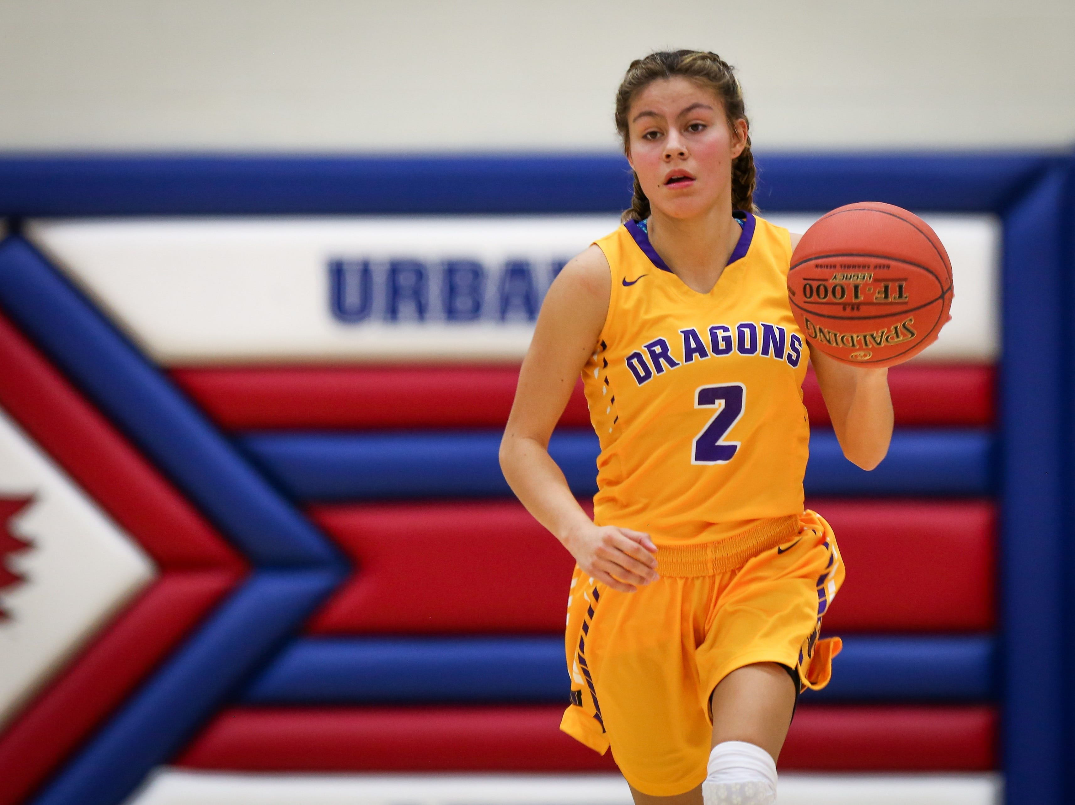 Johnston junior Maya McDermott brings the ball up the court during a girls high school basketball game between the Johnston Dragons and the Urbandale J-Hawks at Urbandale High School on Dec. 18, 2018 in Urbandale, Iowa.