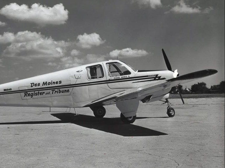 """In 1949, the Register bought a four-passenger Beech Bonanza, """"Good News IX,"""" that had a cruising speed of 170 mph. In 1951 it was replaced with """"Good News X,"""" a four-passenger Beechcraft Bonanza (pictured), flown almost 250,000 over 4 years of use."""