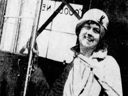 """Mrs. Cornish won the $50 grand prize in the naming contest and a ride in the Register's new plane. Here she's pictured before she boarded. """"I had no fear after the ship started moving — I was not even scared enough to make it thrilling,"""" she said after her ride."""
