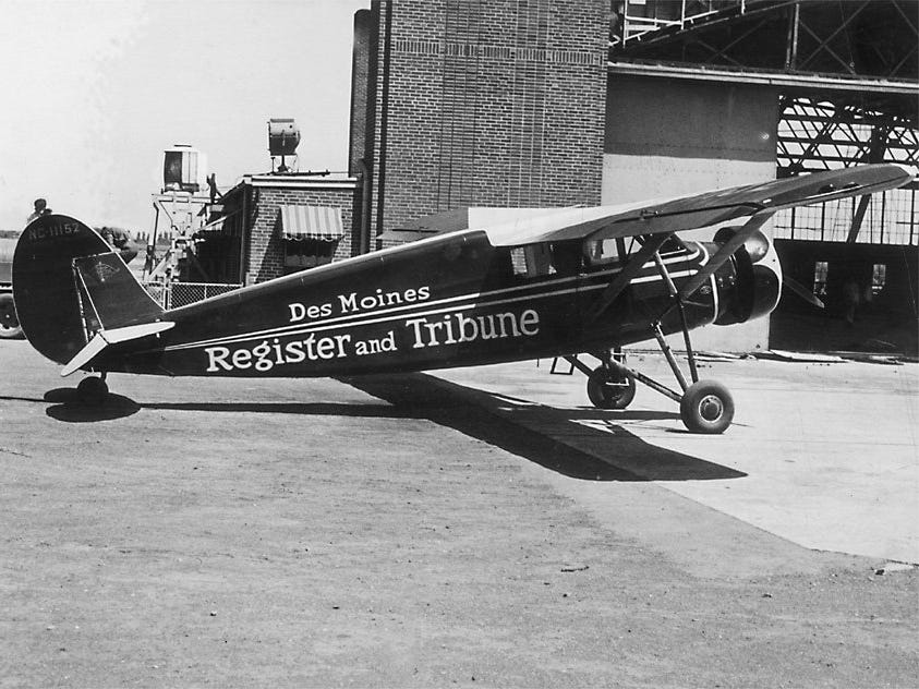 Good News IV was the Register's plane in the early 1930s. By the time World War II began, the Register had owned seven different planes.