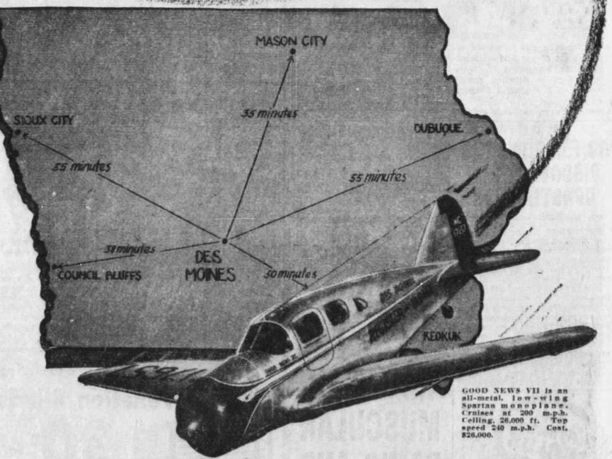 """""""Good News VII"""" was a five-passenger Spartan low-wing monoplane that cruised at 200 mph. Its equipment included retractable landing gear and a two-way radio. At request of federal government, in 1942, that plane was turned over to military forces to help with war efforts."""