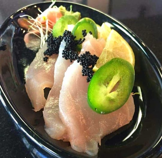 Red snapper sashimi with fish roe from Shokai Fusion.