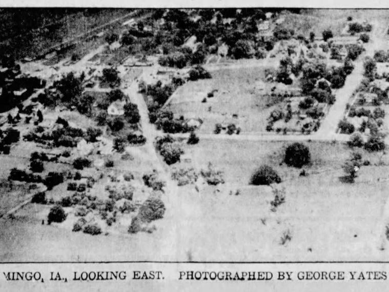"""""""Good News III"""" had a cruising speed of 100 mph, but could fly as slow as 20 mph. This made aerial photography — like this of 1932 flooding in Mingo — much easier because the autogiro could hover for a short time and land vertically more slowly."""