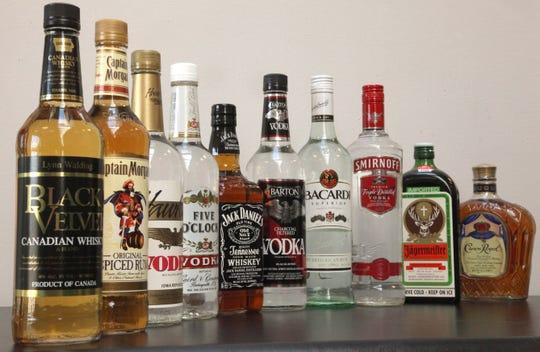 Black Velvet Canadian Whisky, shown on far left, topped the list of the state's most popular liquor brands in 2019.