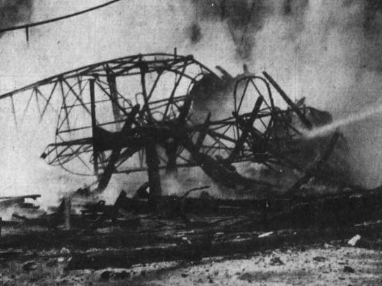 """""""Good News"""" planes V and VI were both six-passenger Bellancas. """"Good News VI,"""" which came with a price tag of $26,500, was destroyed in a 1939 fire at the Des Moines airport. Photo: all that remained of VI after the blaze."""