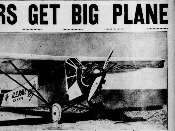 The wings folded for storage in smaller buildings, and it was customized for aerial photography and film development on the fly. Similar planes were being used to carry mail, like this one printed as an example of the Des Moines Register's new plane in April 29, 1928 paper.