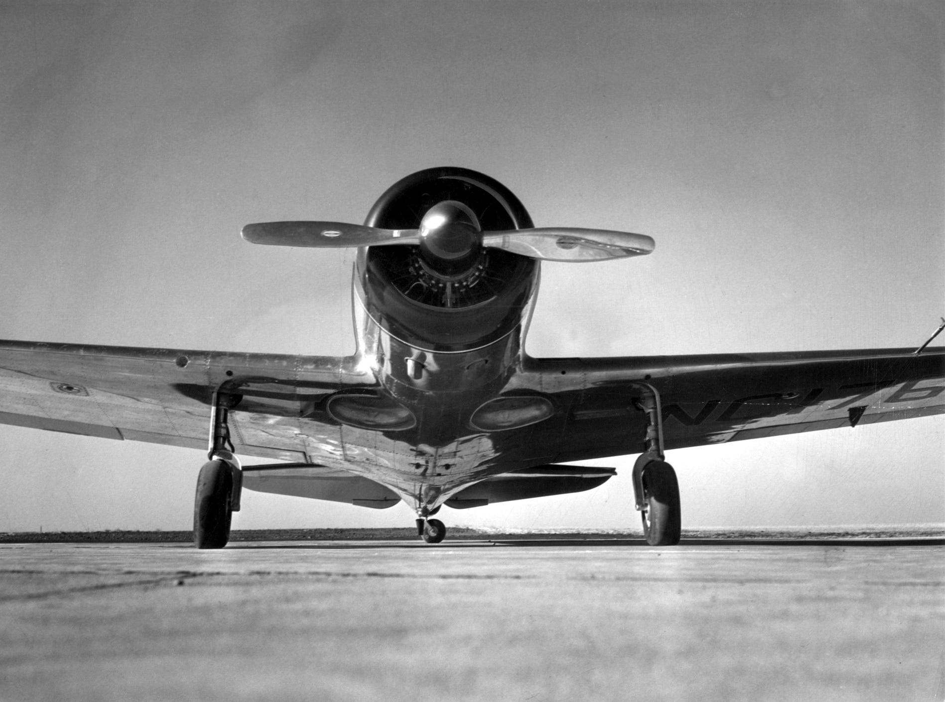 Strong, shiny streamlined and speedy is Good News VII. It is an all-metal, five place Spartan Executive, capable of flying 240 miles an hour, with a cruising range of 1,000 miles.