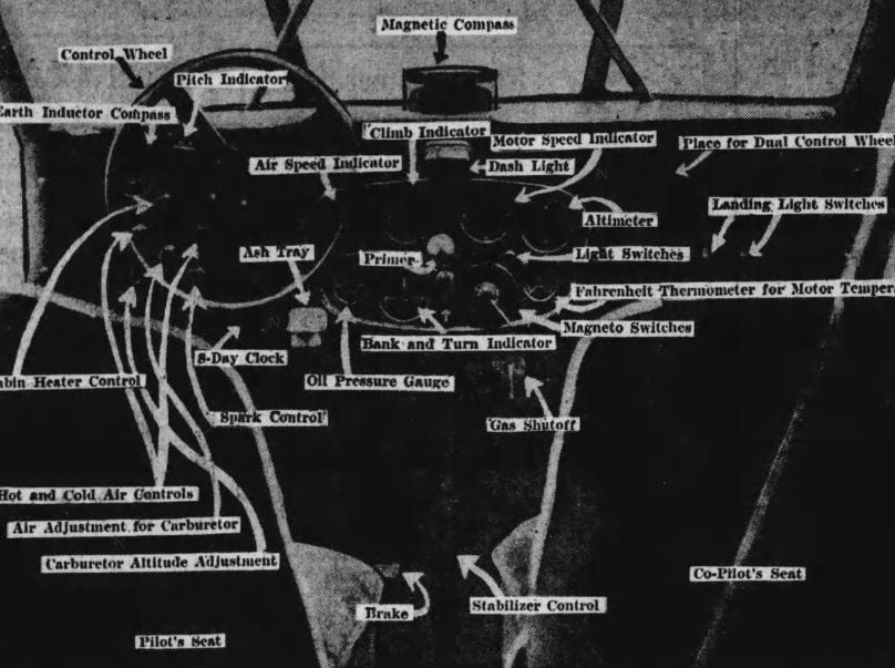 """This illustration from 1930 shows the """"labyrinth of the dashboard"""" of the """"Good News II,"""" which flew more than 100,000 miles in two years for the Register and was sold to American Airways in 1932."""