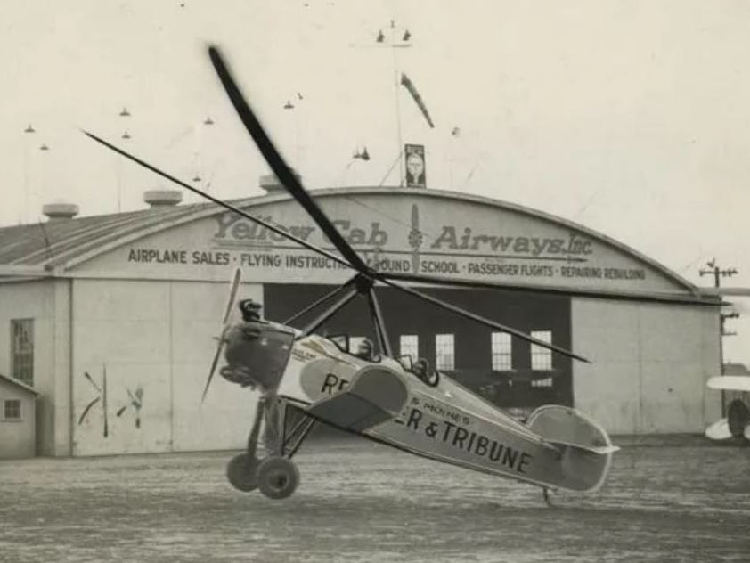 """From the early 1930s: Des Moines Register & Tribune's Pitcairn autogiro, """"Good News III,"""" during a tour that took it to 112 Iowa towns. In 1928, R&T became the country's first newspaper to own and operate an airplane full-time. It's name, """"Good News,"""" was chosen by readers."""