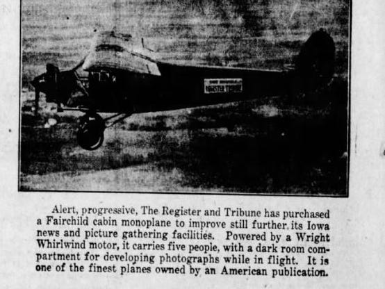 More than 6,000 name ideas were submitted. Some finalists that were mentioned in the Register:  The Spectator, Wings of Progress, The Star Reporter, The Skywriter, Pluck O' the Press, News Getter, and The Scoop Hawk. Here's an ad from July 1928 showing it in flight.
