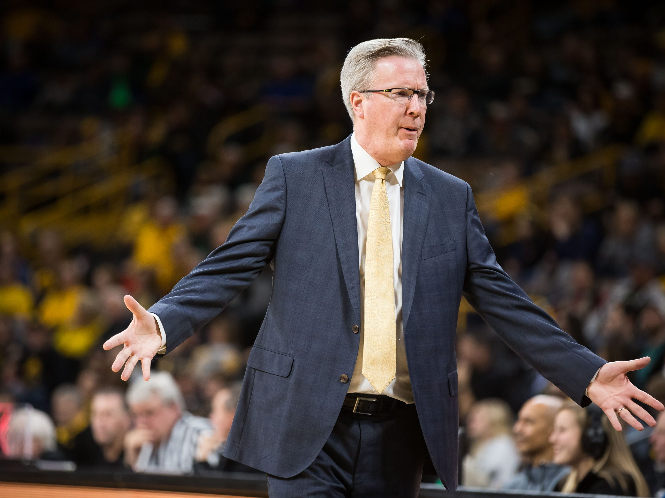 Iowa head coach Fran McCaffery addresses the Hawkeye bench in the second half at Carver Hawkeye Arena in Iowa City on Tuesday, Dec. 18, 2018.