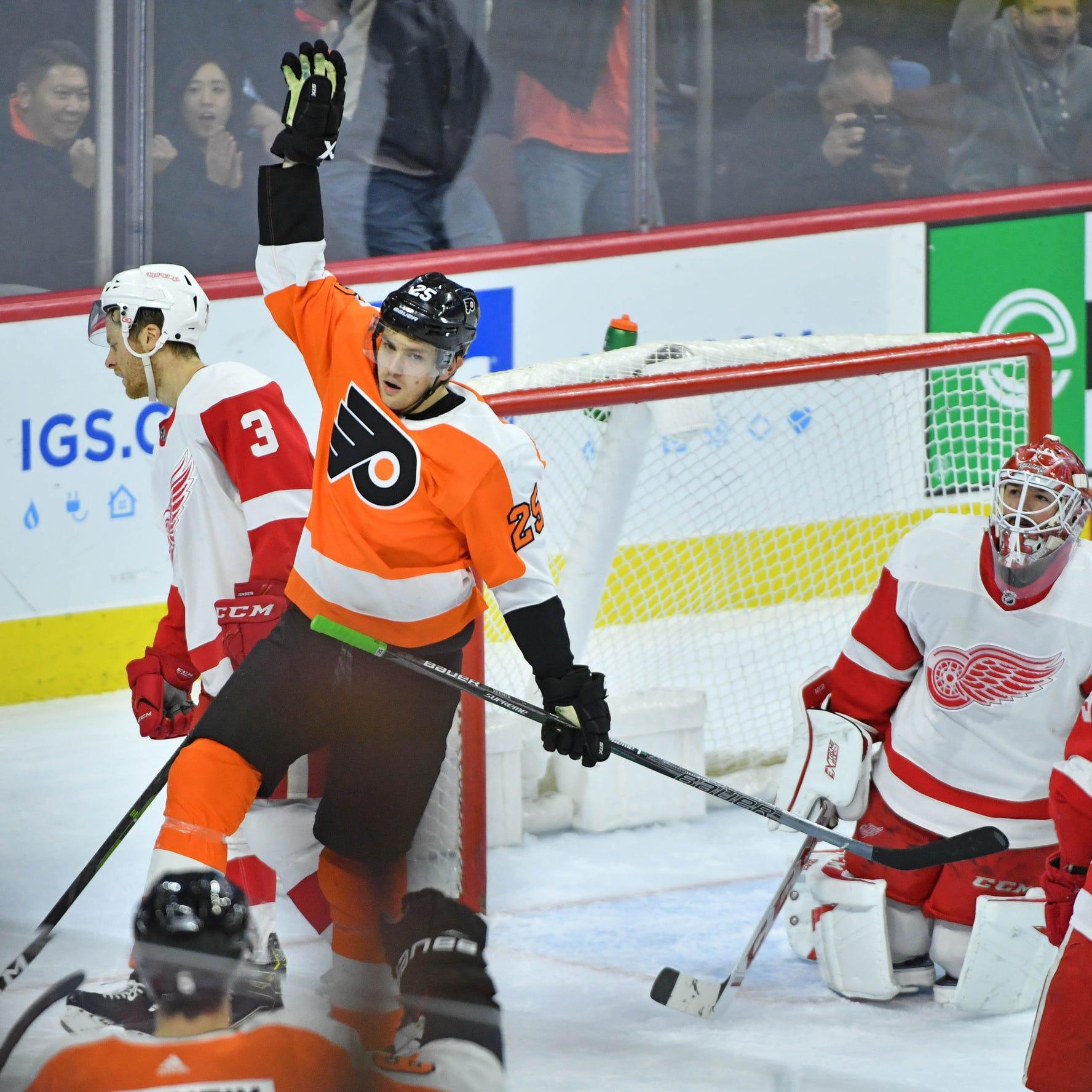 Philadelphia Flyers left wing James van Riemsdyk...