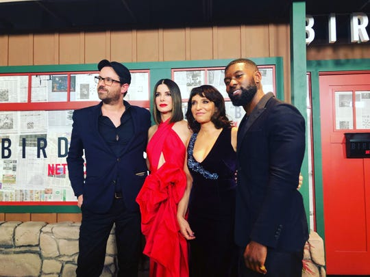 From left: Josh Malerman, Sandra Bullock, Suzanne Bier and Trevante Rhodes at the New York premiere of 'Bird Box.'