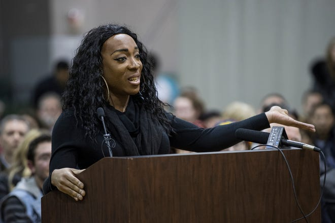 Raven Cassadine host of the Drag Queen Story Time speaks during the Huntington Woods city commission meeting at the Gilliam Recreation Center in Huntington Woods, Tuesday, Dec. 18, 2018.