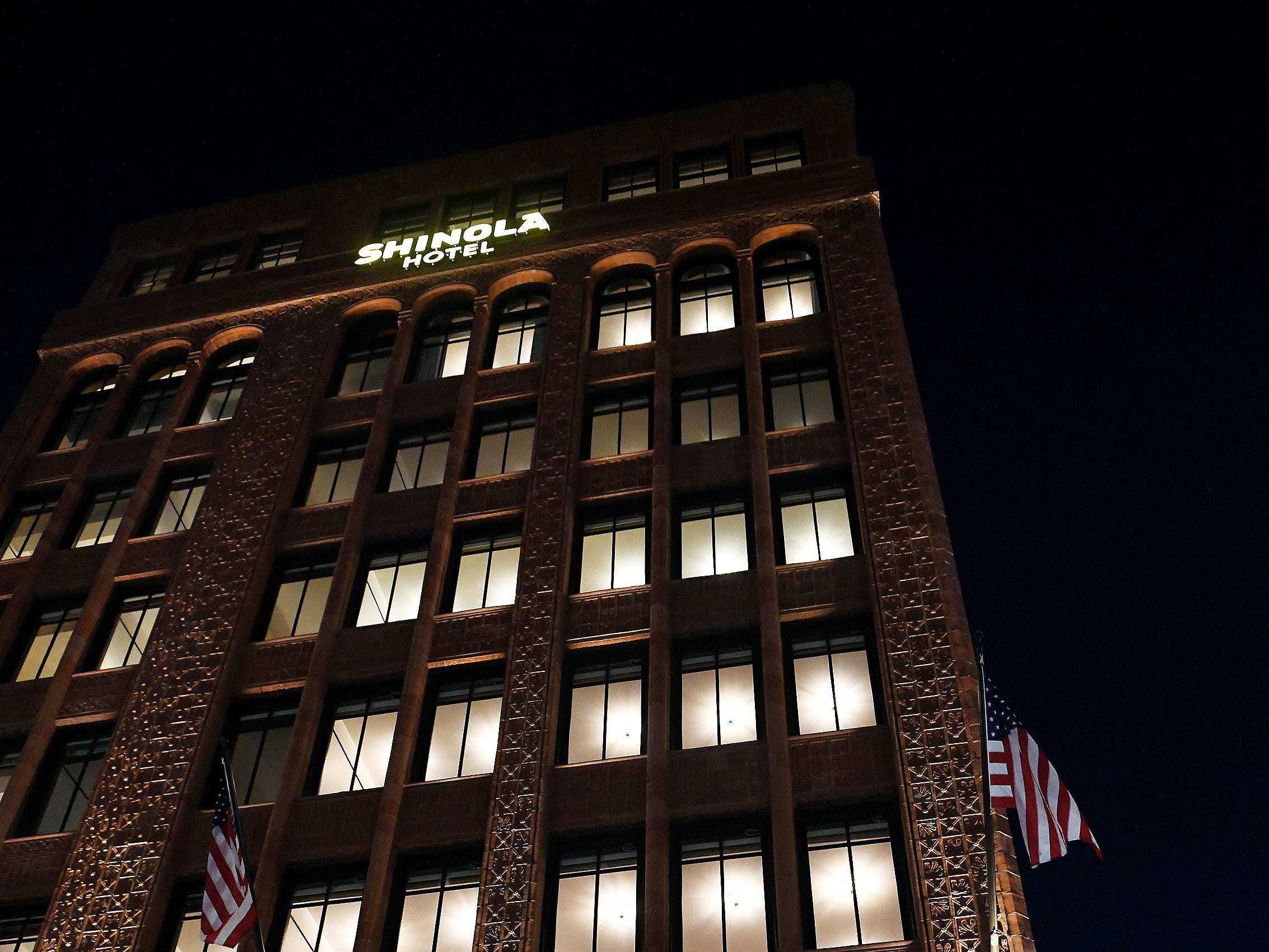 The exterior lights are turned on at the Shinola Hotel in Detroit on Dec. 18, 2018.