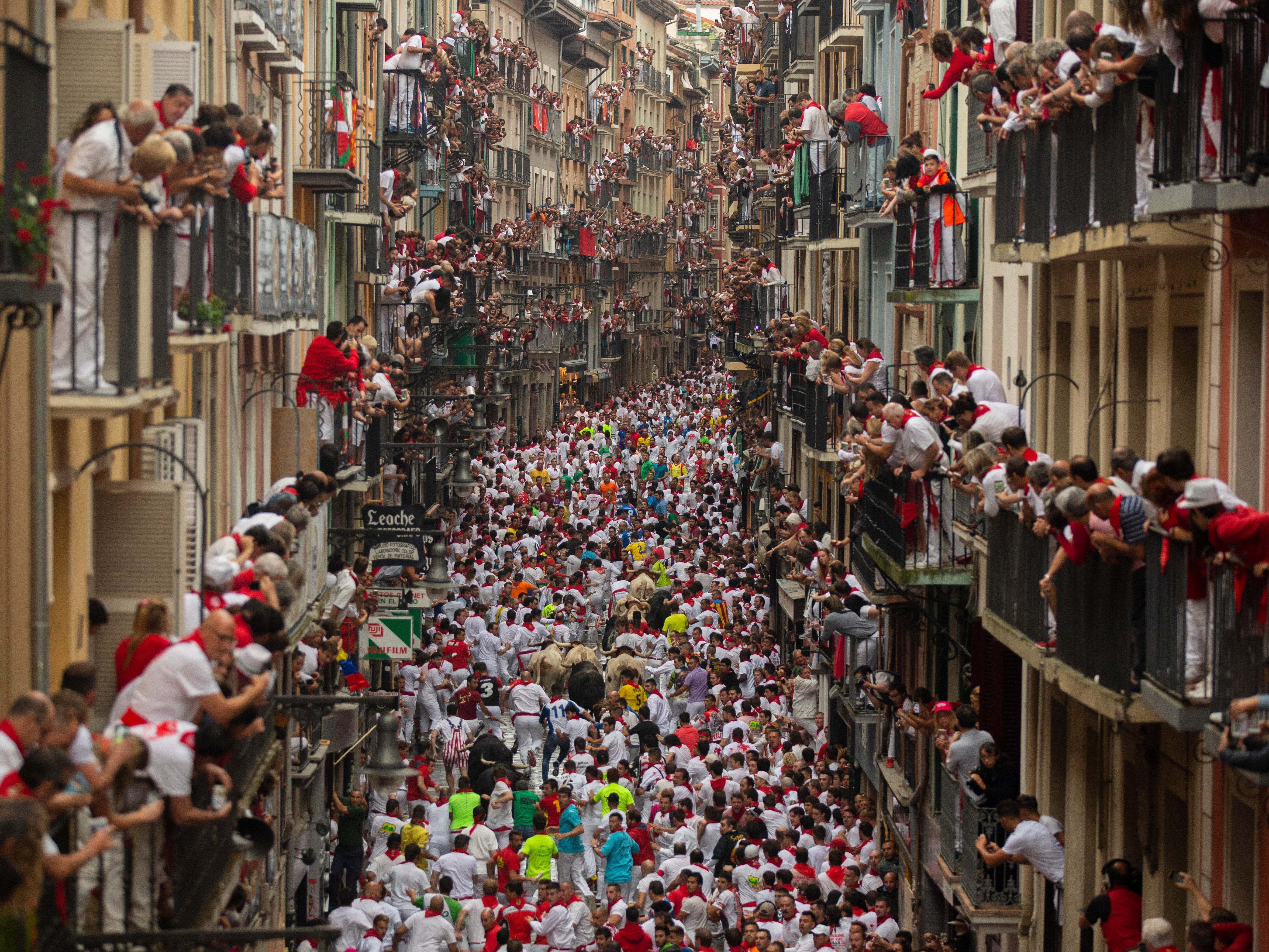 Revellers run with Puerto de San Lorenzo's fighting bulls during the second day of the San Fermin Running of the Bulls festival on July 7, 2018 in Pamplona, Spain.