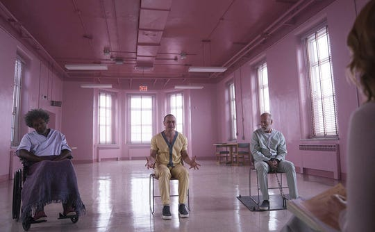 "Samuel L. Jackson, James McAvoy and Bruce Willis in ""Glass."""