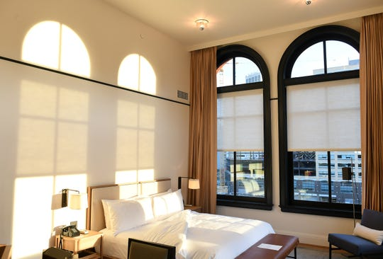 This is one of the large  guest rooms facing Woodward Avenue at the Shinola Hotel in Detroit on Dec. 18, 2018.