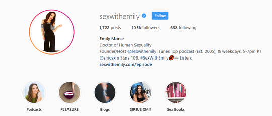 "Emily Morse frequently promotes her various business endeavors through her ""Sex With Emily"" account on Instagram."