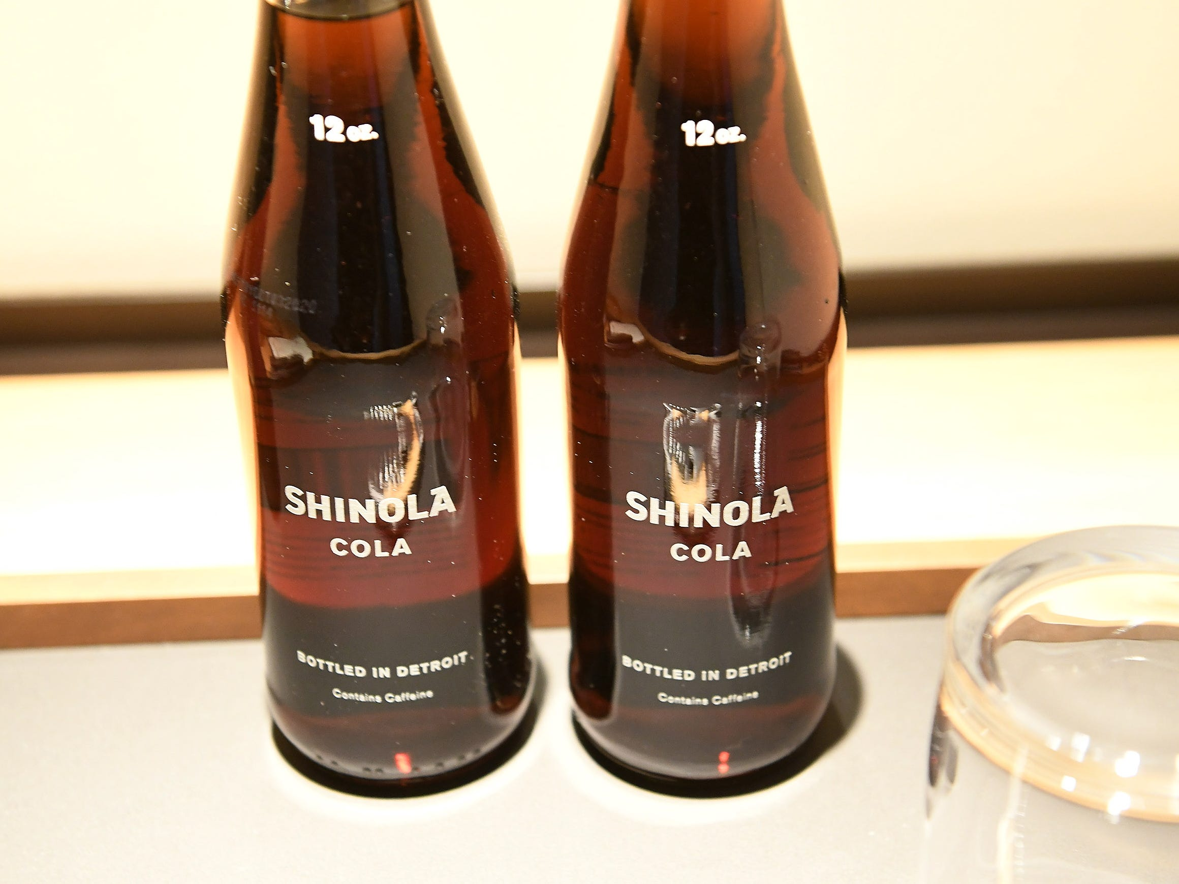 Bottles of Shinola cola in one of the guest rooms.