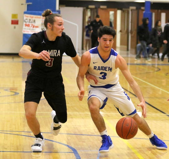 Mike Limoncelli of Horseheads drives toward the basket as Elmira's Luke Baldwin defends Dec. 18, 2018 at Horseheads Middle School.