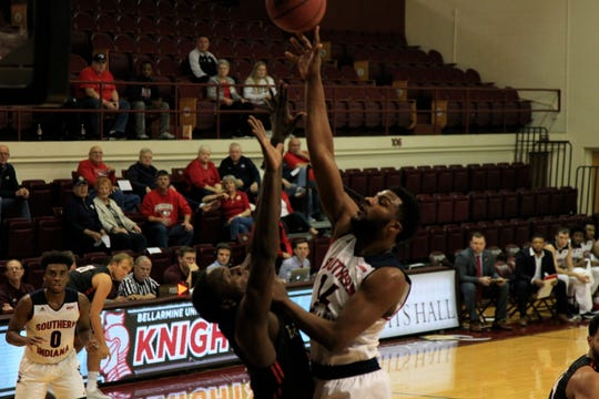 Emmanuel Little shoots during the University of Southern Indiana's game against Barry University in the Bellarmine Classic at Knights Hall in Louisville, Ky., in December.