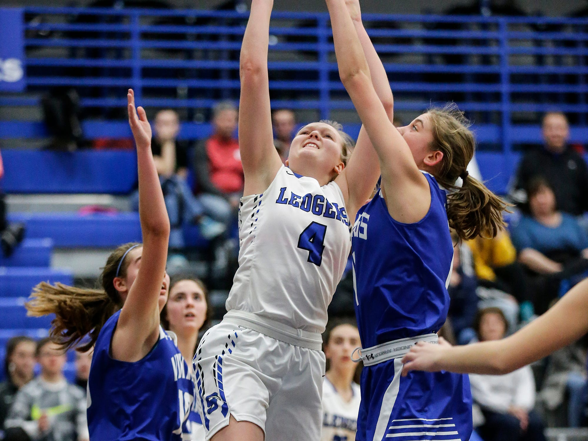 St. Mary's Springs Academy girls basketball's Brianna Freund goes up for a basket against Winnebago Lutheran Academy during their game Tuesday, December 18, 2018 in Fond du Lac. Winnebago Lutheran Academy won the game 58-54. Doug Raflik/USA TODAY NETWORK-Wisconsin