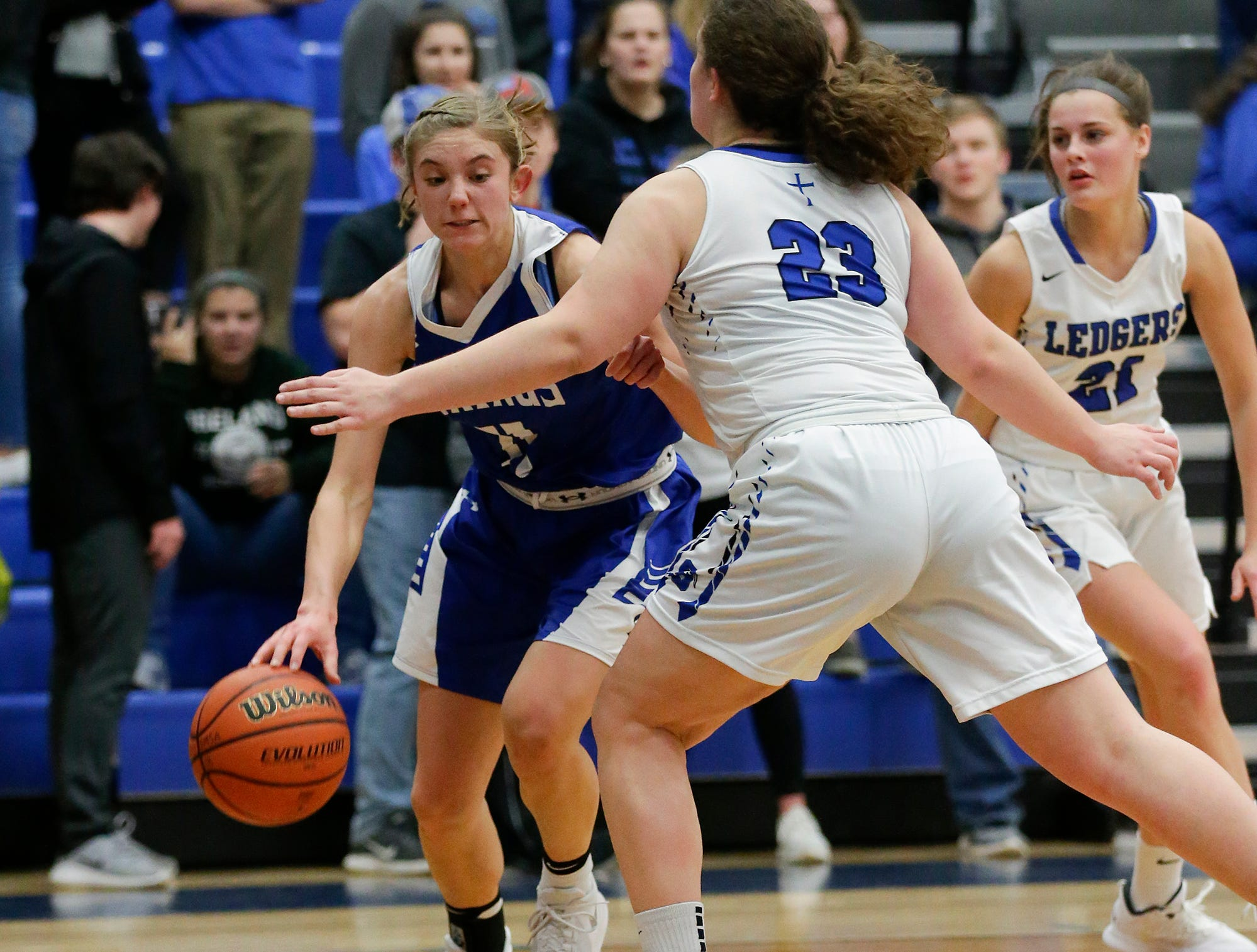 Winnebago Lutheran Academy girls basketball's Alyssa Lorenz makes her way torwards the basket against St. Mary's Springs Academy's Cecelia Rodriguez during their game Tuesday, December 18, 2018 in Fond du Lac. Winnebago Lutheran Academy won the game 58-54. Doug Raflik/USA TODAY NETWORK-Wisconsin