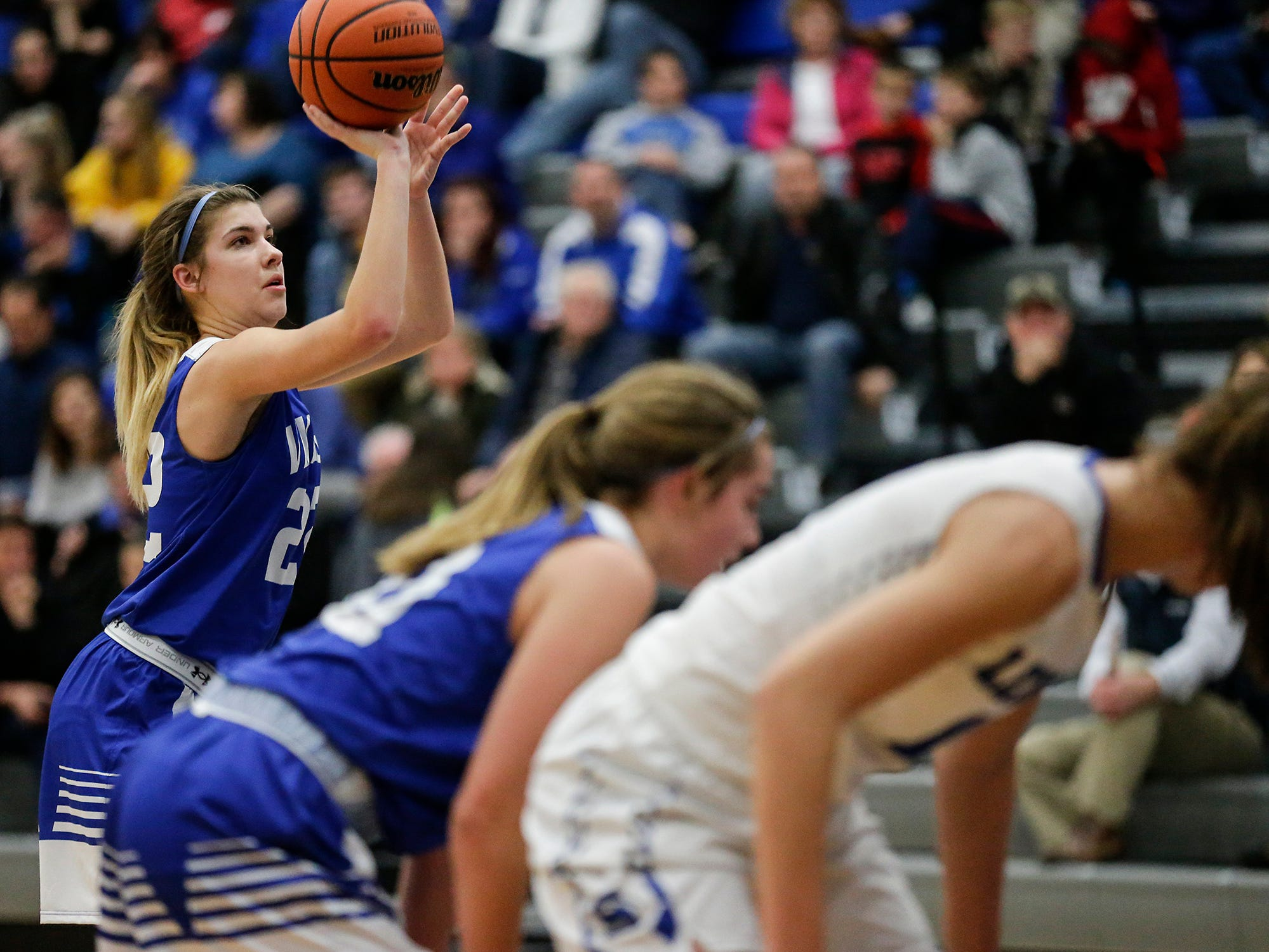 Winnebago Lutheran Academy girls basketball's Kaylee Frey shoots from trhe free throw line against St. Mary's Springs Academy during their game Tuesday, December 18, 2018 in Fond du Lac. Winnebago Lutheran Academy won the game 58-54. Doug Raflik/USA TODAY NETWORK-Wisconsin