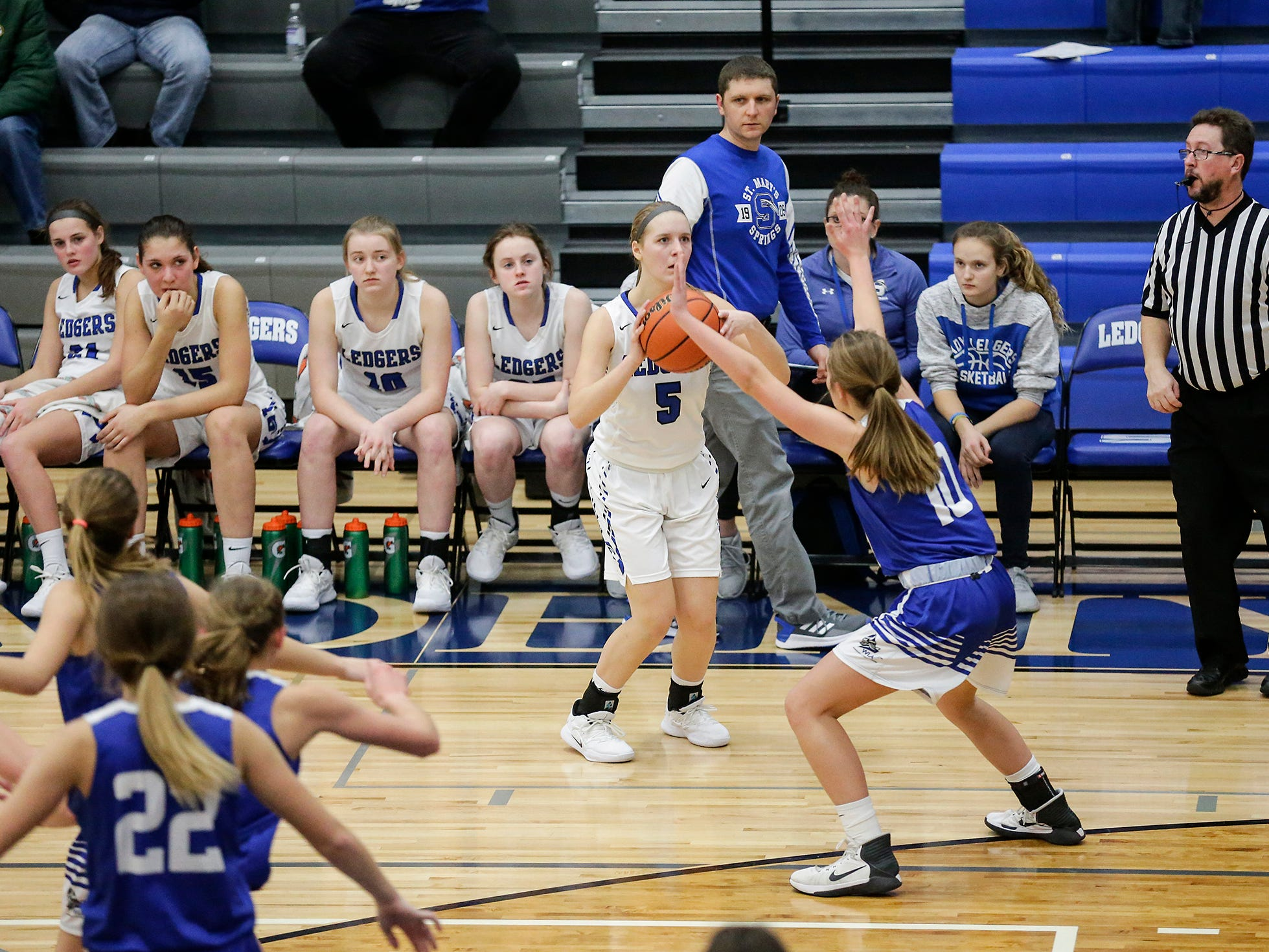 St. Mary's Springs Academy girls basketball's Gracie Rieder attempts a three point shot against Winnebago Lutheran Academy during their game Tuesday, December 18, 2018 in Fond du Lac. Winnebago Lutheran Academy won the game 58-54. Doug Raflik/USA TODAY NETWORK-Wisconsin