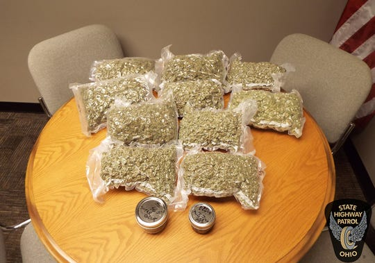 Troopers seized this marijuana and THC shatter/wax after a traffic stop on the Ohio Turnpike.