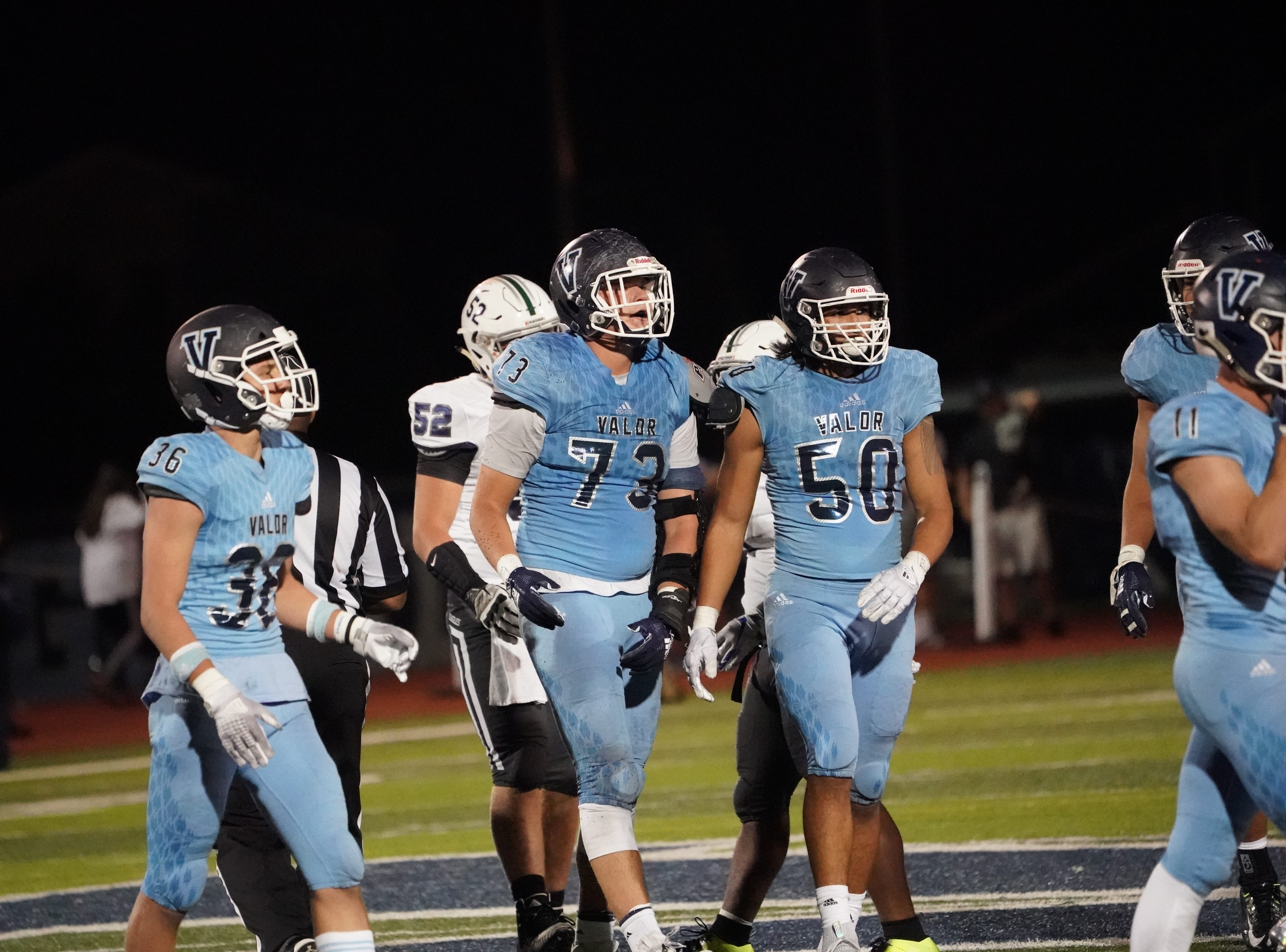 Valor Christian defensive end Cian Quiroga (50) has committed to join CSU after helping Valor win the 5A title.