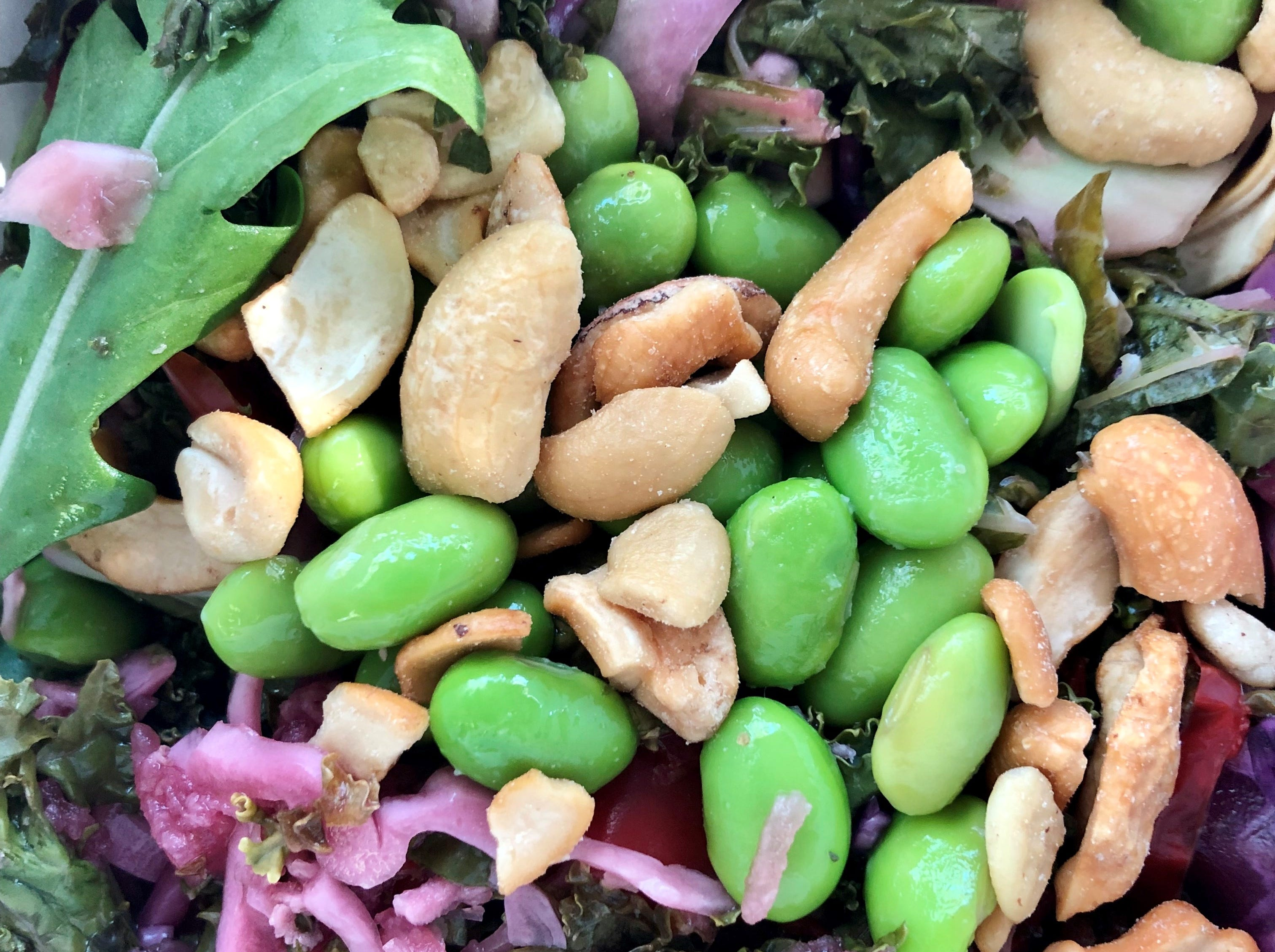 Sesame kale salad with edamame and roasted cashews from The American Grilled Cheese Kitchen in south Fort Myers.