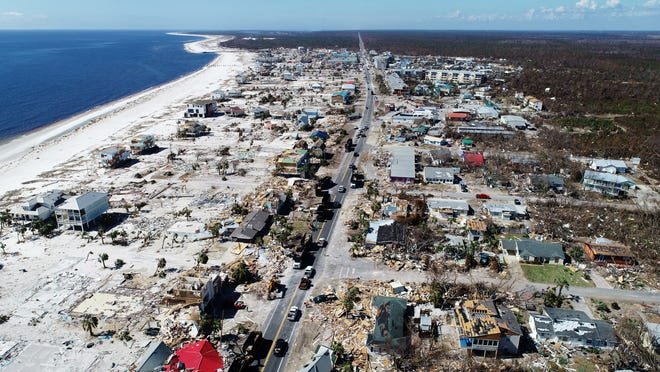 Aerial view of the devastating impact Hurricane Michael left behind along the Florida Panhandle's coastal town of Mexico Beach. Drone image was captured Tuesday, Oct. 16, 2018.
