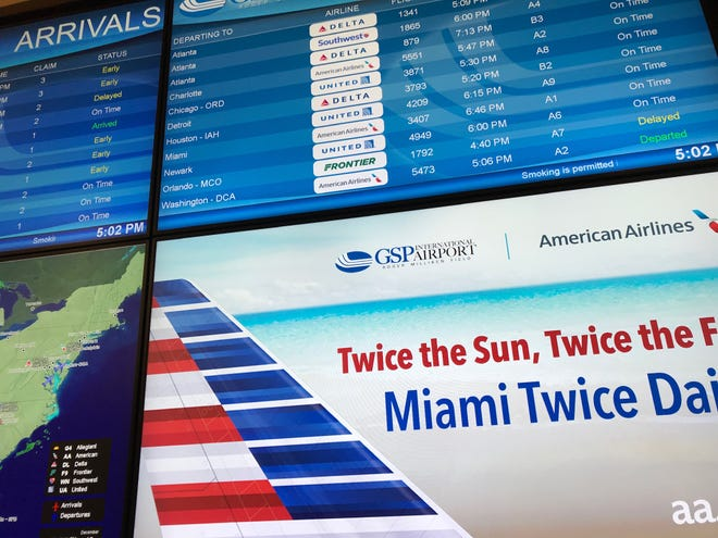 The departures board at GSP International Airport lists its first direct flight to Miami on Wednesday, Dec. 19, 2018