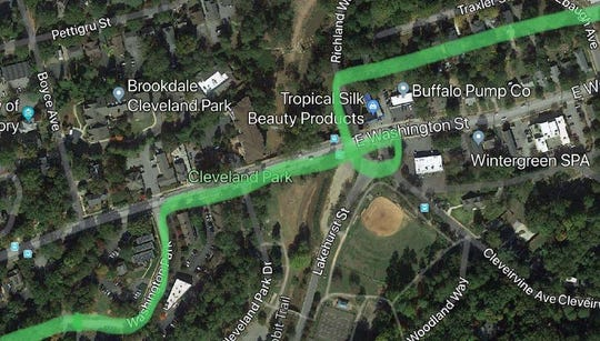 A rough sketch of how the Swamp Rabbit Extension would connect in and out of Cleveland Park and travel alongside the back of the Greenville Zoo.