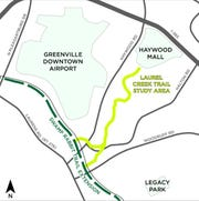 Map of the proposed route of the Laurel Creek Trail from the future Swamp Rabbit Trail extension to Haywood Mall.